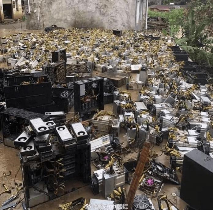 Zalana kopalnia kryptowalut gdzieś w Chinach