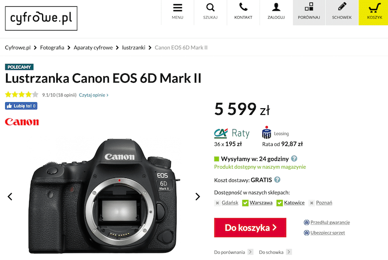 Canon 6D mark II w cyfrowe.pl. Screen z 9 marca 2019.