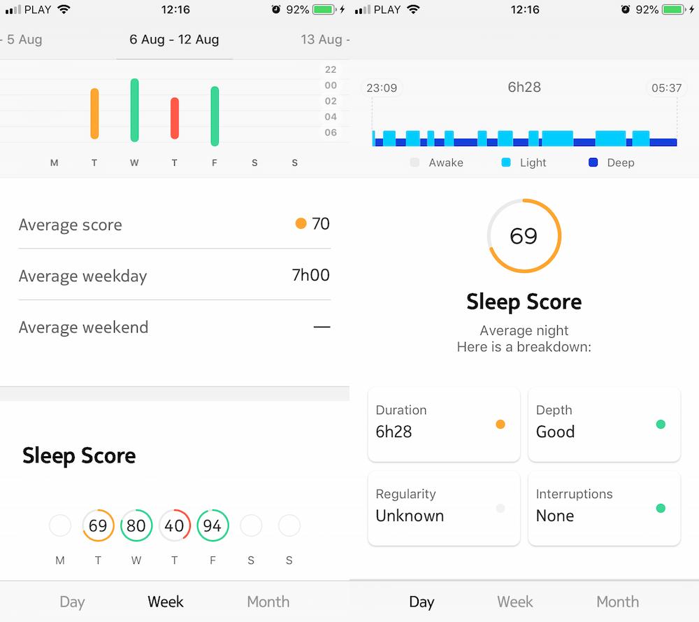 Tak prezentuje się Health Mate ze szczegółami snu. Statystyki o średnim czasie snu, czy sen był mocny lub płytki