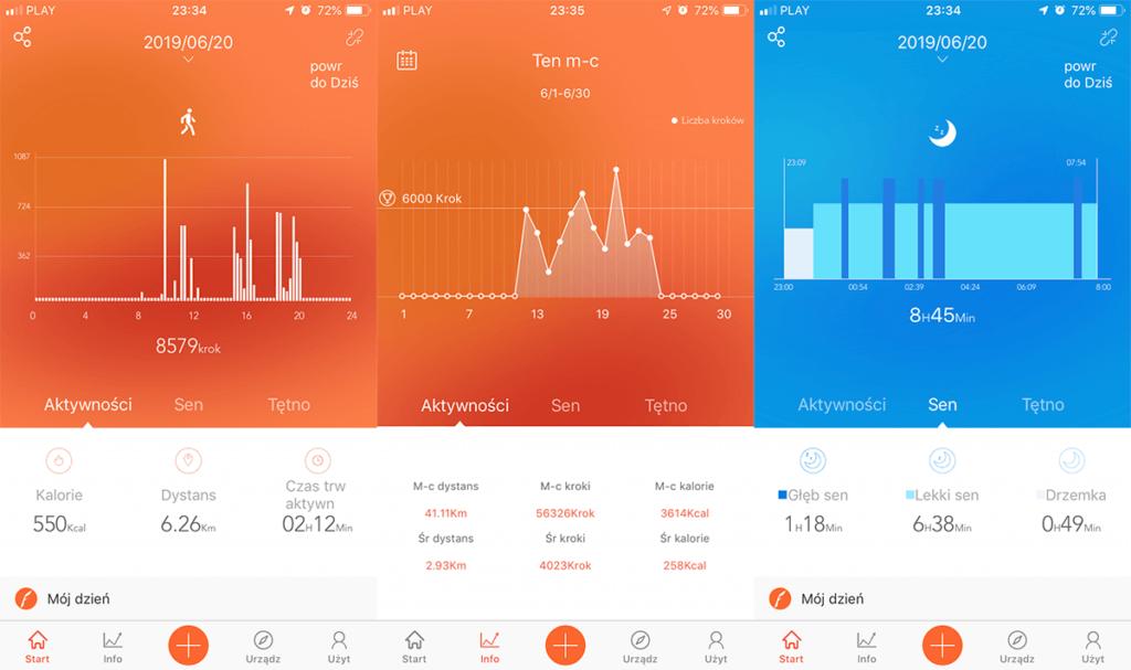 VeryFitPro - wizualizacja kroków oraz snu