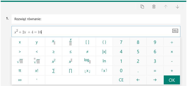 Dodatkowa, specjalna klawiatura na wpisywanie równań matematycznych w Microsoft Forms