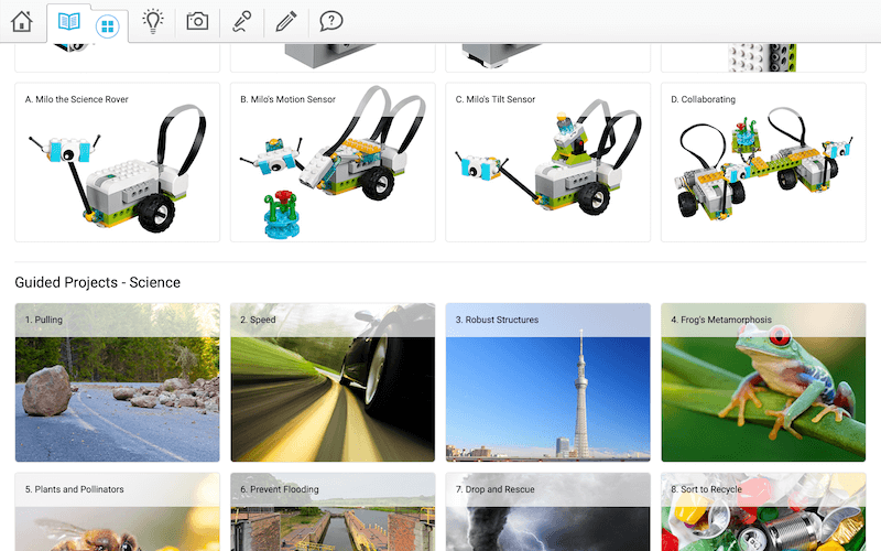 Aplikacja Lego WeDo 2.0 - ekranem z wyborem projektów do zbudowania