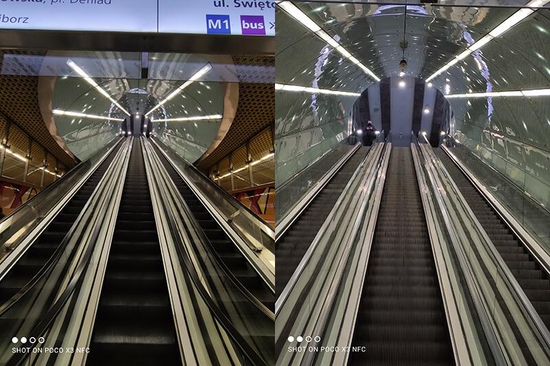 Poco X3 - zdjęcia z aparatu głównego (po lewej) oraz z zoomem (po prawej). Oba zdjęcia wykonane z tego samego miejsca.