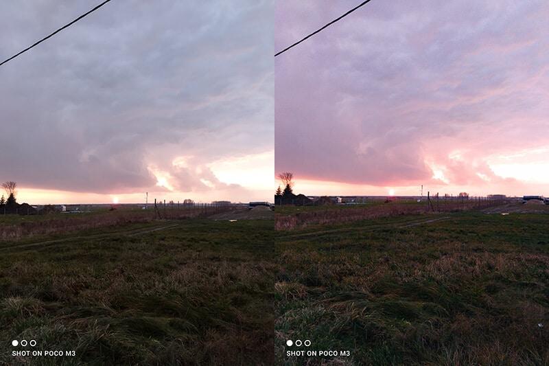 Poco M3 - zdjęcie w trybie AI. Po lewej bez, po prawej z włączonym trybem sztucznej inteligencji