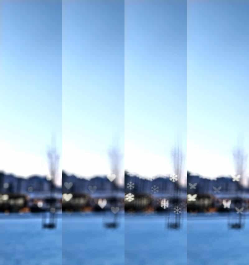 Efekty bokeh w Nokii 5.4. Od lewej - czysty kawałek zdjęcia, serce, motyl, płatek śniegu