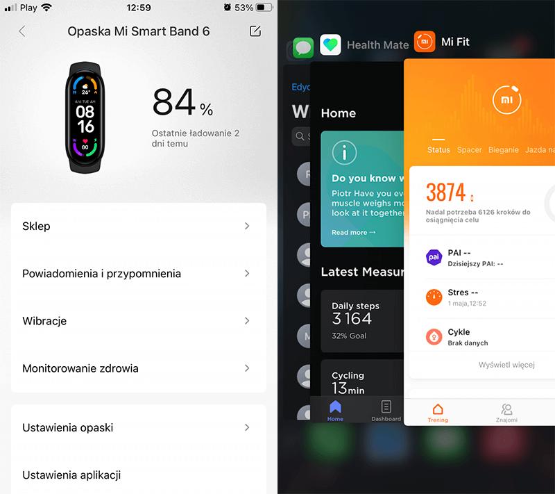 Mi Fit - Xiaomi Mi Band 6 - poziom baterii i kroki