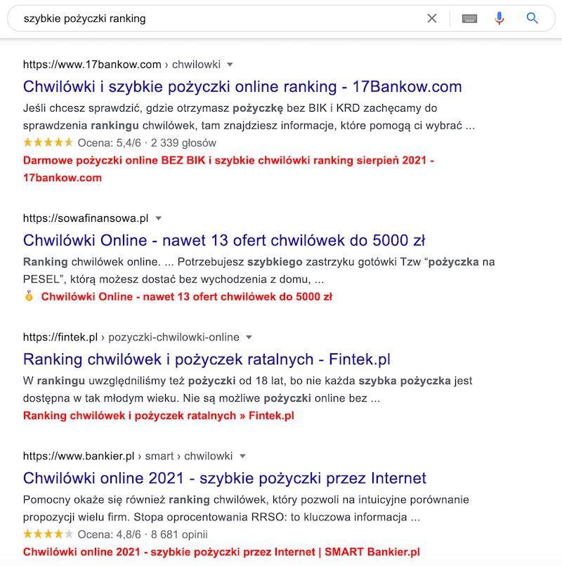 """Modyfikacje tytułów w wynikach wyszukiwania Google dla hasła """"szybkie pożyczki ranking"""""""