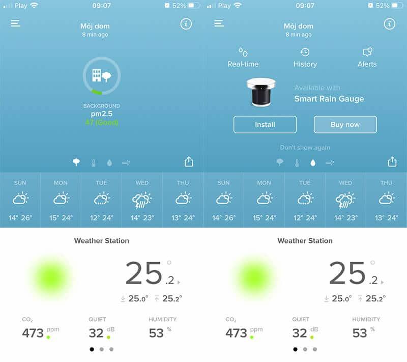 Aplikacja Netatmo - zachęta zakupu modułu deszczowego (po prawej) oraz aktualny pomiar jakości powietrza (po lewej)