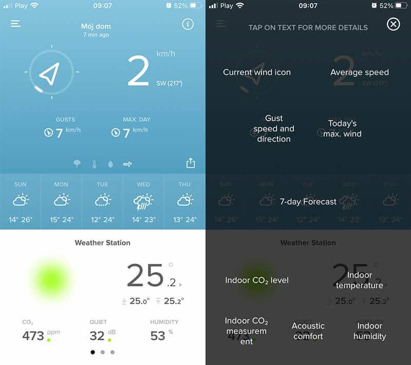 Aplikacja Netatmo - ekran z pomiarami wiatromierza (po lewej). Wyjaśnienie pomiarów (po prawej).