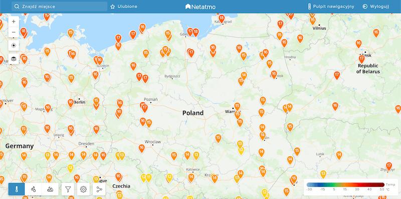 Netatmo - mapa Polski z danymi od klientów